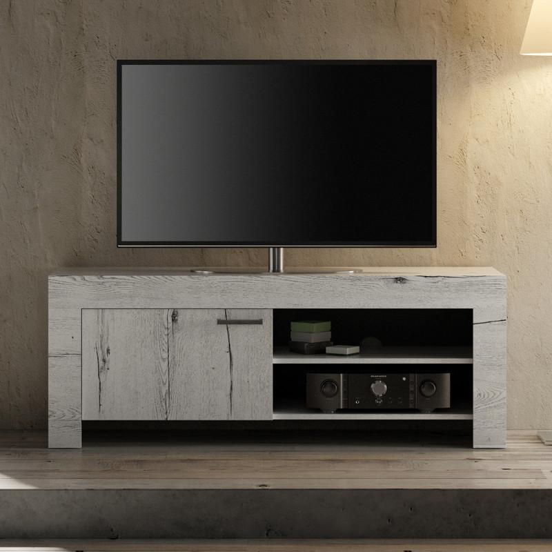 Meuble TV 1 porte Chêne blanchi moderne bois - Univers Salon : Tousmesmeubles