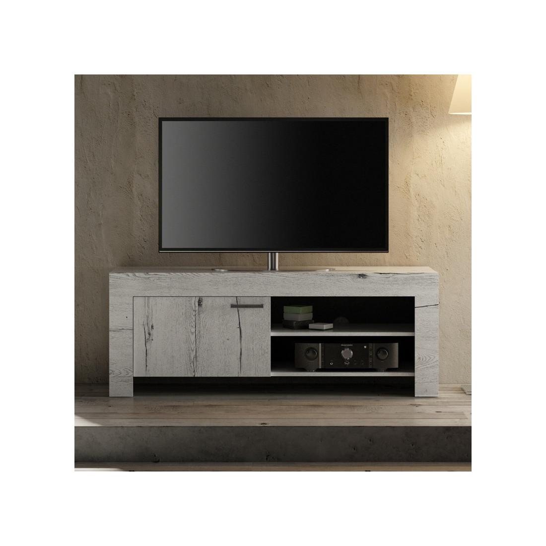 Meuble TV 1 porte Chêne blanchi VERONE - Univers du Salon