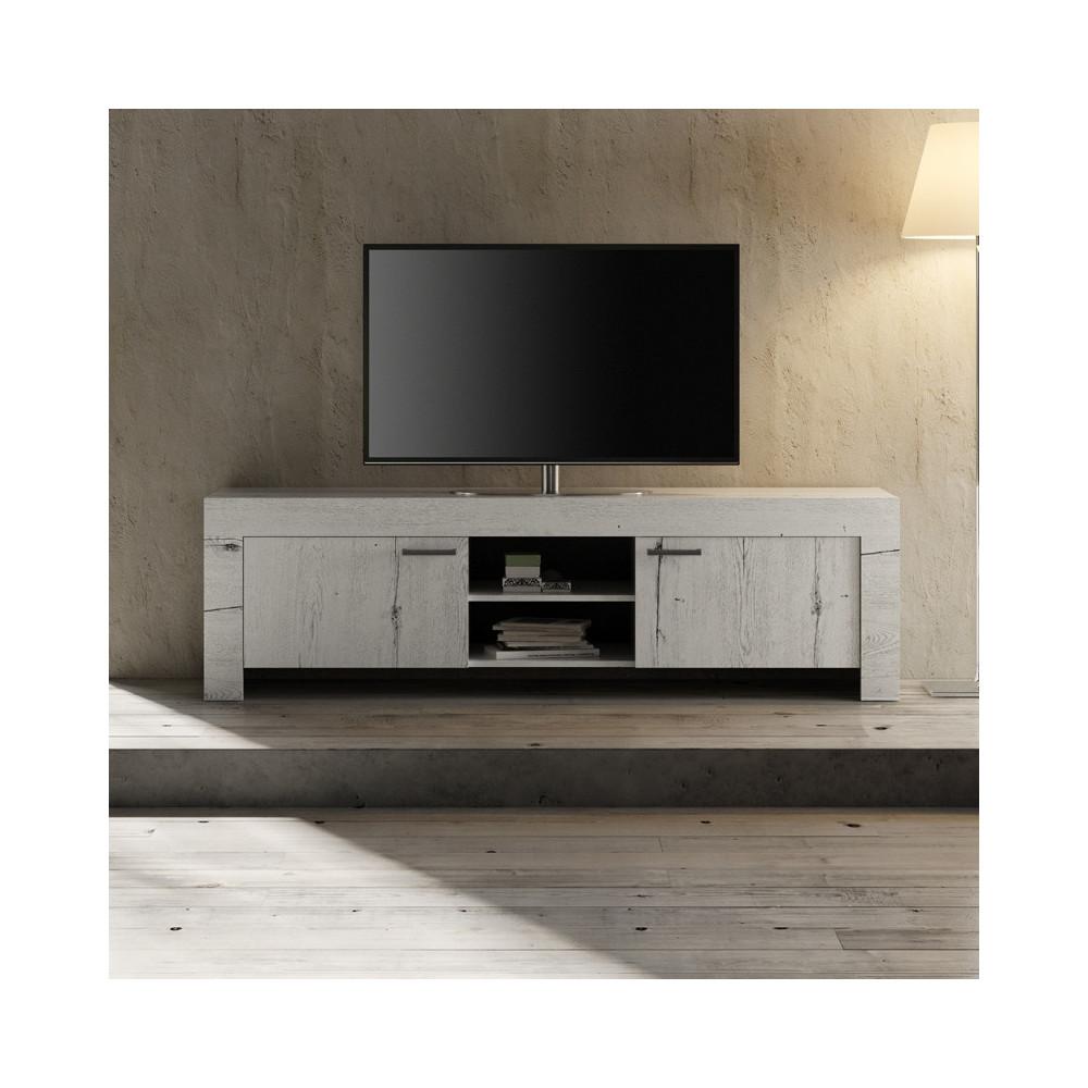 Meuble TV 2 portes Chêne blanchi moderne bois - Univers Salon : Tousmesmeubles