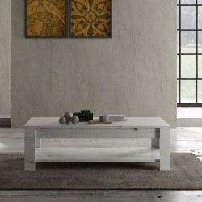 Table basse double plateau Chêne blanchi bois contemporain - Univers Salon : Tousmesmeubles