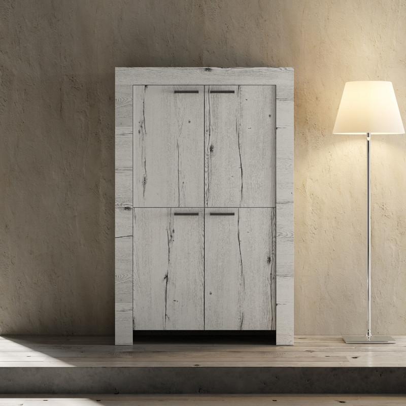 Vaisselier 4 portes Chêne blanchi bois contemporain - Univers Salle à Manger : Tousmesmeubles
