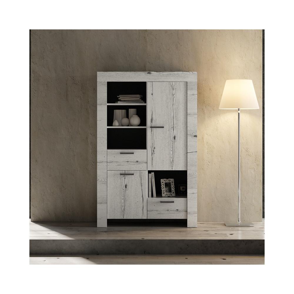 Vaisselier 2 portes 2 tiroirs Chêne blanchi moderne bois - Univers Salle à Manger : Tousmesmeubles