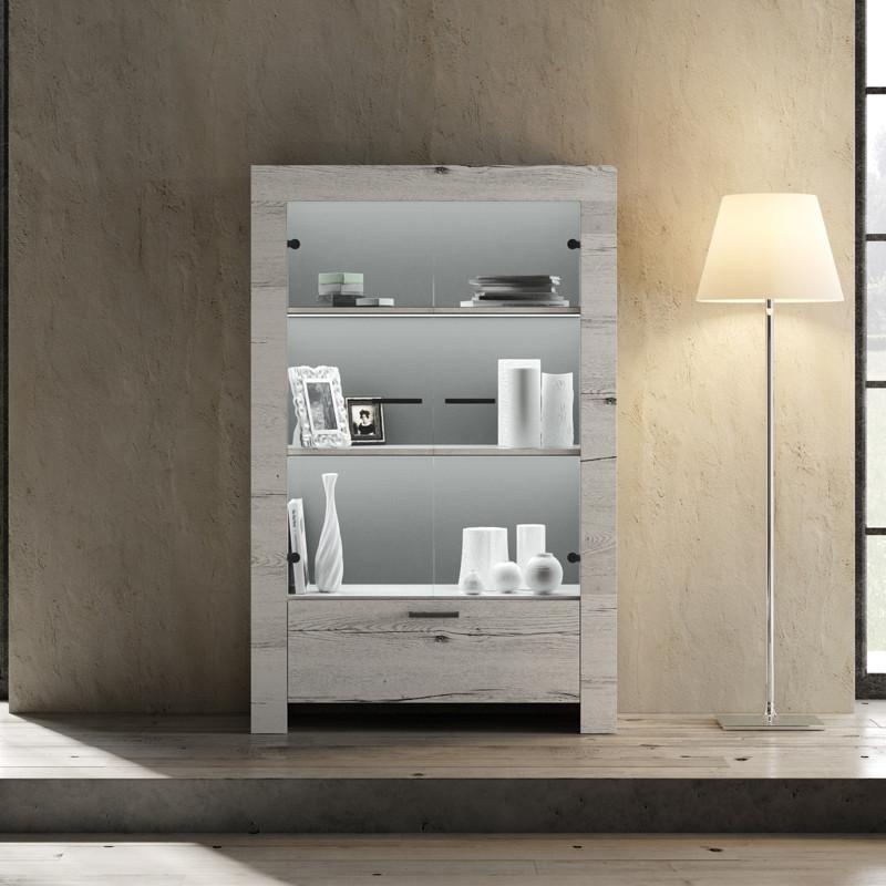Vitrine 2 portes 1 tiroir Chêne blanchi bois contemporain - Univers Salle à Manger : Tousmesmeubles