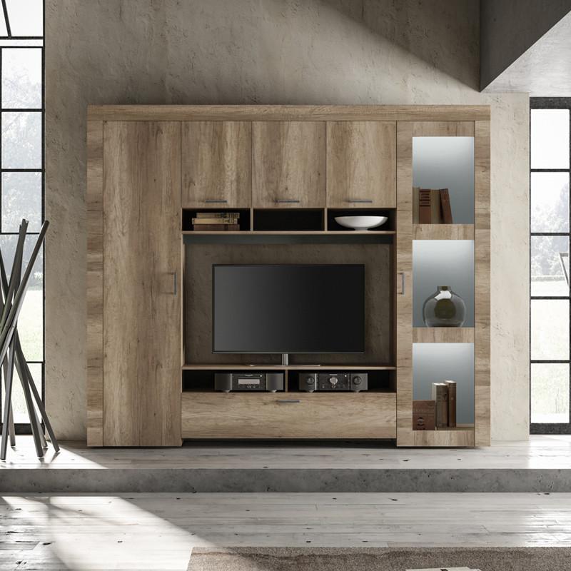 Composition TV 6 portes Chêne moyen - VERONE