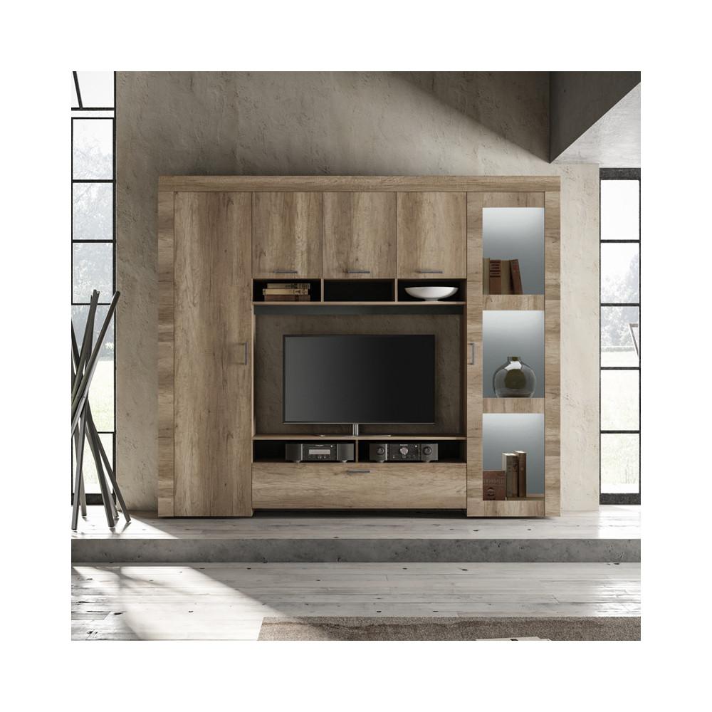 Composition TV 6 portes Chêne moyen bois moderne - Univers Salon : Tousmesmeubles