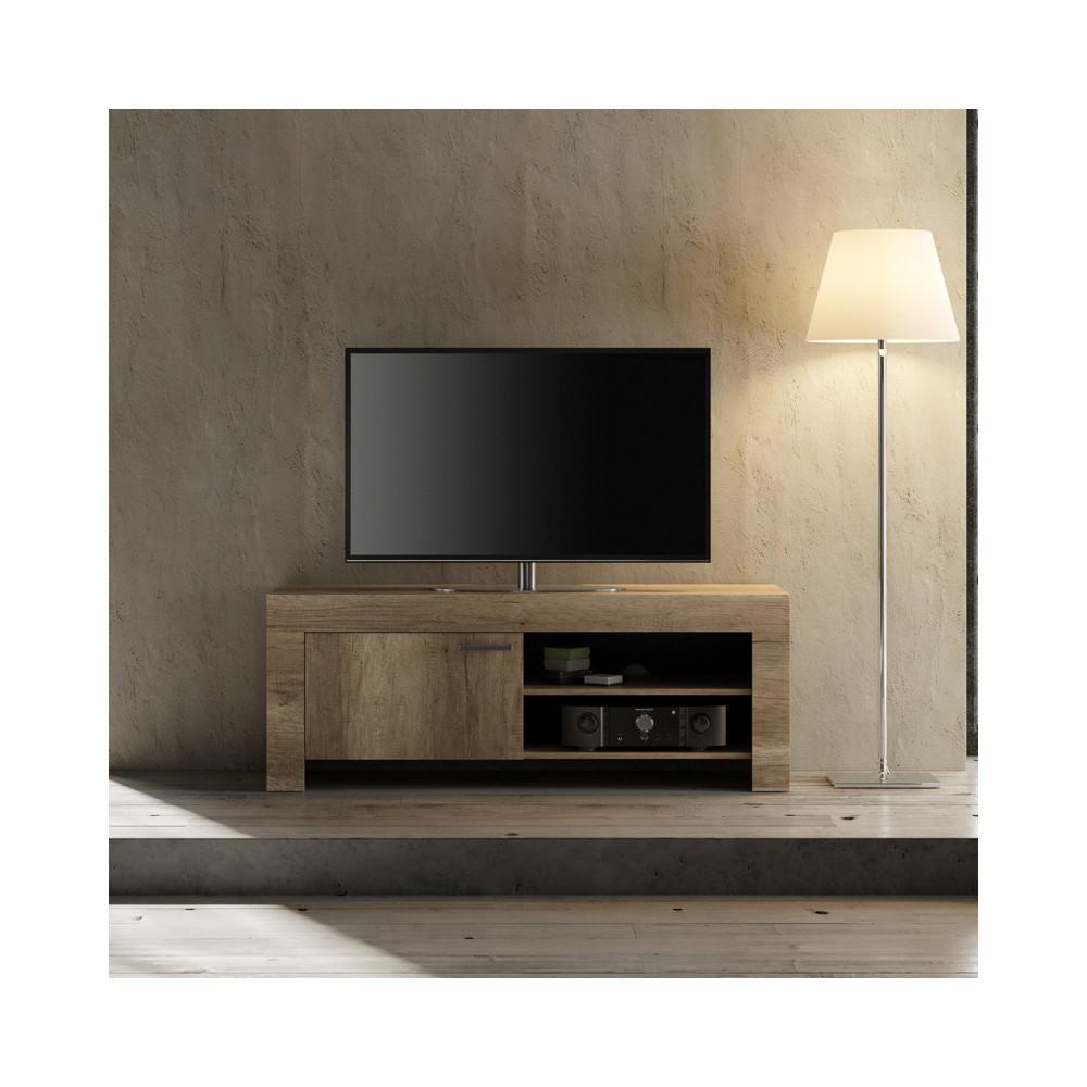 Meuble TV 1 porte Chêne moyen bois moderne - Univers Salon : Tousmesmeubles