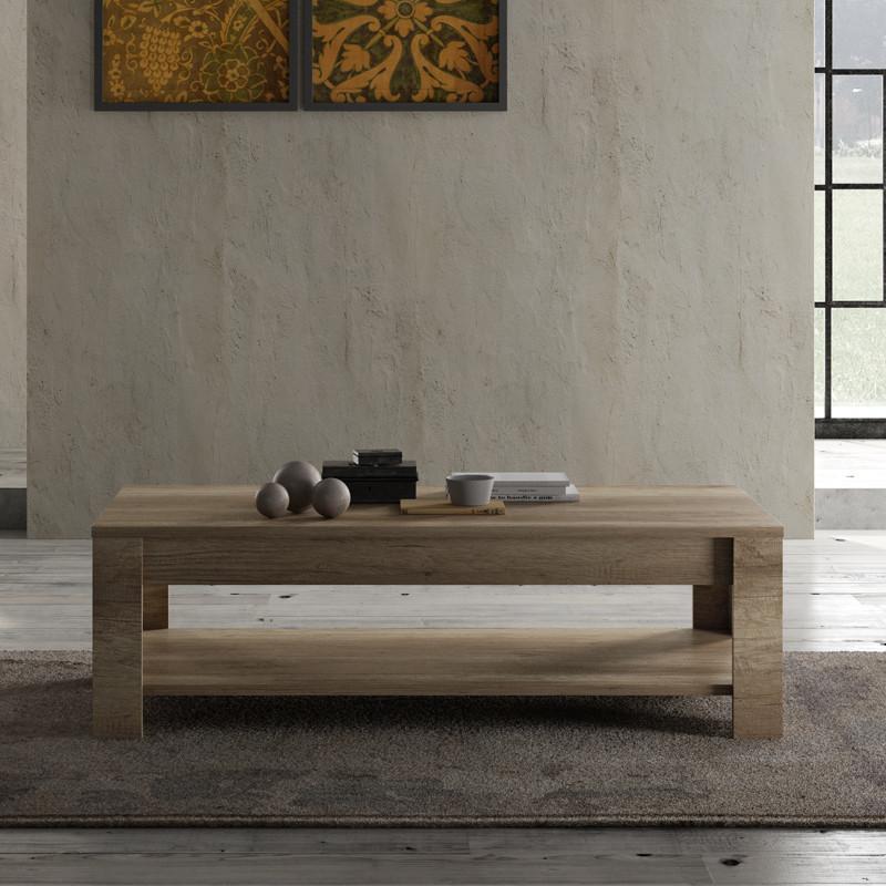 Table basse double plateau Chêne moyen moderne bois - Univers Salon : Tousmesmeubles