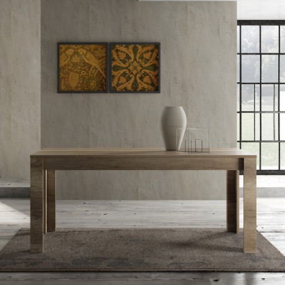 Table de repas 180 cm Chêne moyen bois contemporain - Univers Salle à Manger : Tousmesmeubles