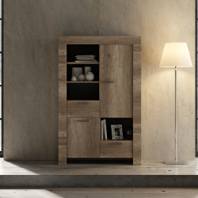 Vaisselier 2 portes 2 tiroirs Chêne moyen bois moderne - Univers Salle à Manger : Tousmesmeubles