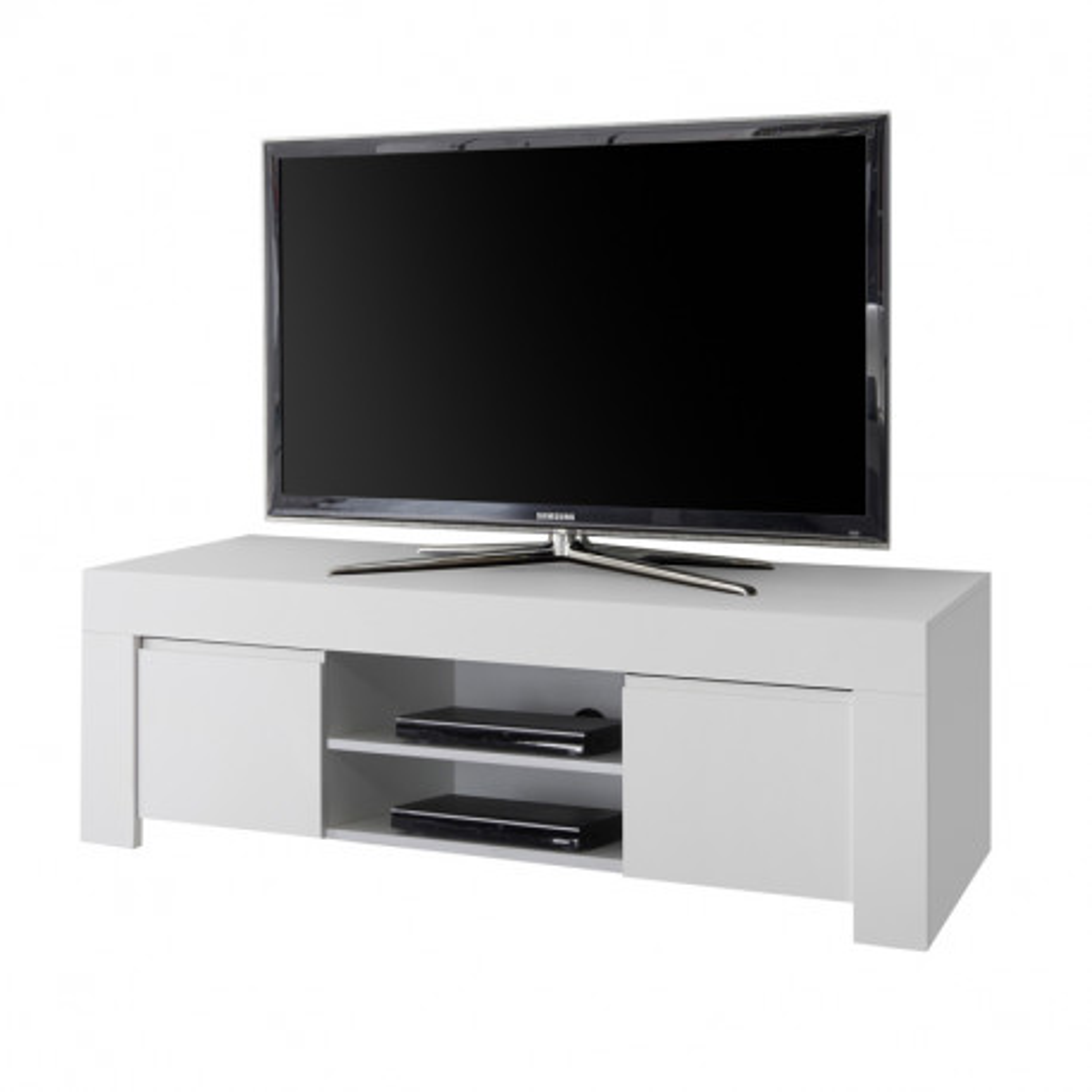 Meuble TV 2 portes laqué Blanc mat contemporain - Univers Salon : Tousmesmeubles