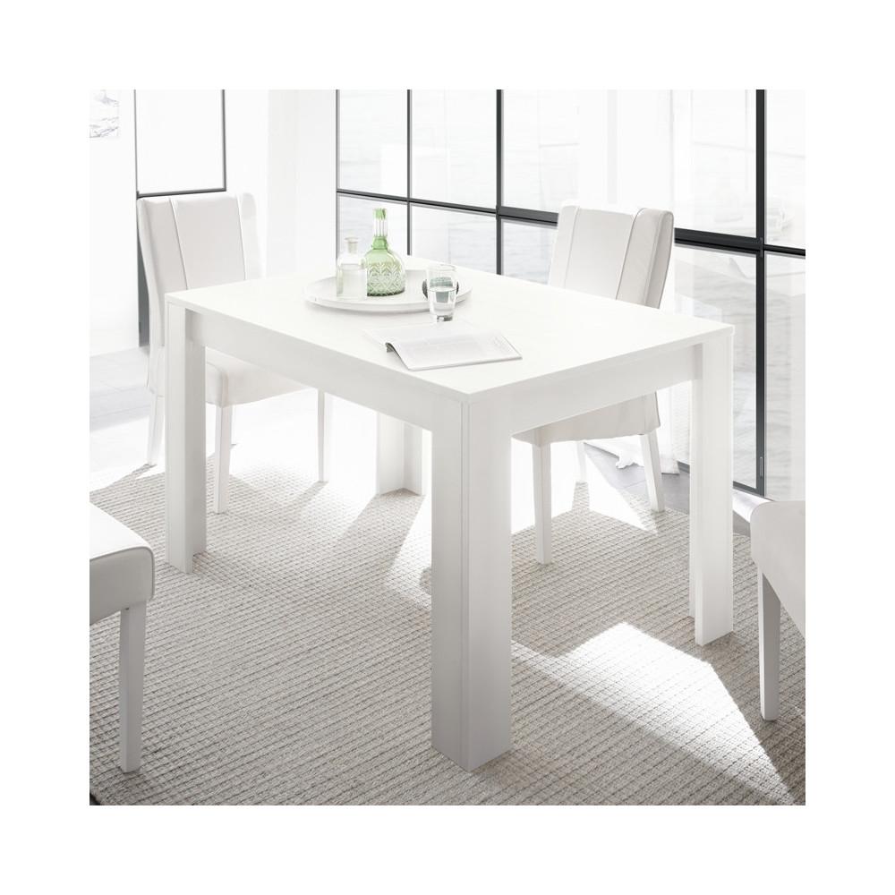 Table de repas à allonge laqué Blanc mat moderne - Univers Salle à Manger : Tousmesmeubles