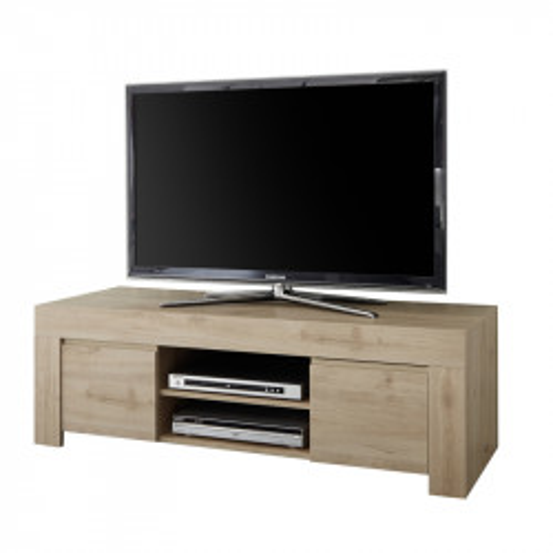 Meuble TV 2 portes Chêne naturel - PISE