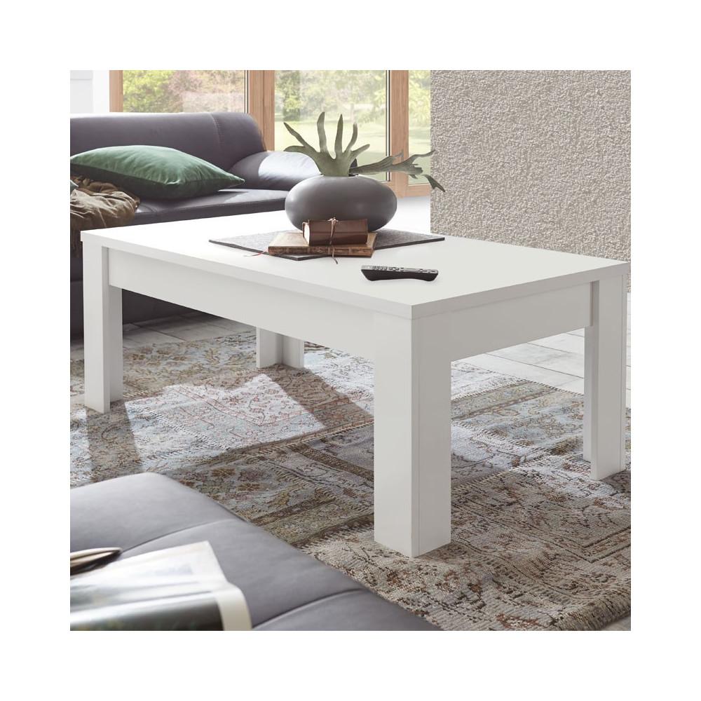 Table basse Blanc mat contemporaine - Univers Salon : Tousmesmeubles