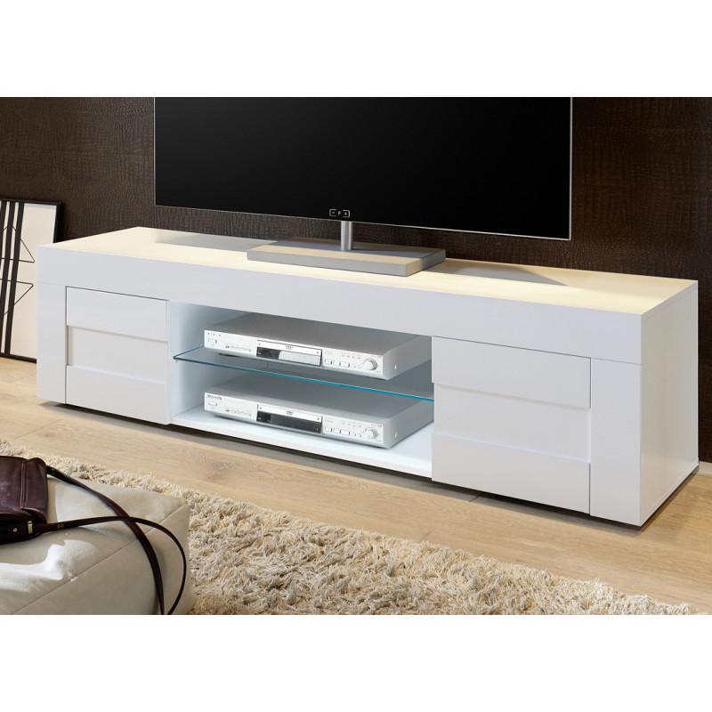 Meuble TV 2 portes 181 cm laqué Blanc brillant moderne - Univers Salon : Tousmesmeubles