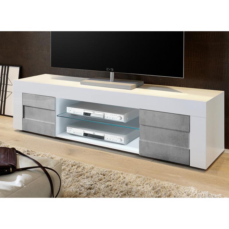 Meuble TV 2 portes 181 cm Blanc brillant Béton contemporain - Univers Salon : Tousmesmeubles