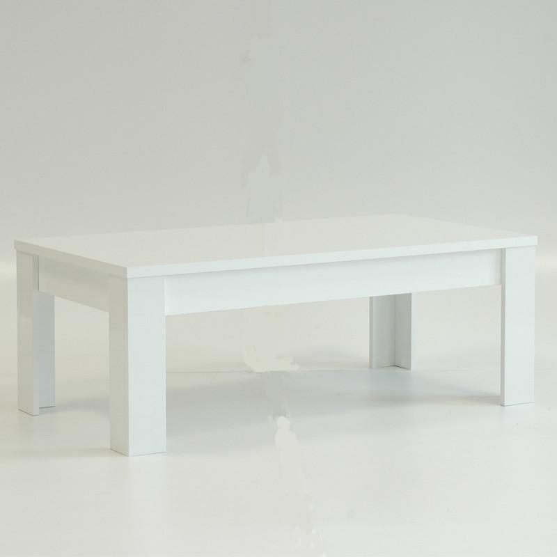Table basse laqué Blanc brillant contemporaine - Univers Salon : Tousmesmeubles