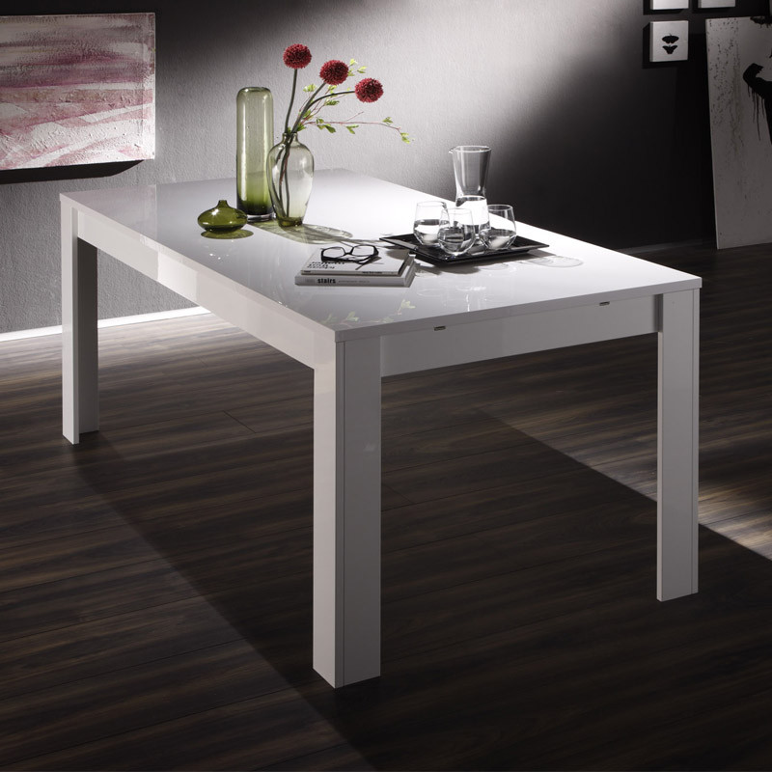 Table de repas à allonge laqué Blanc brillant - TRANI