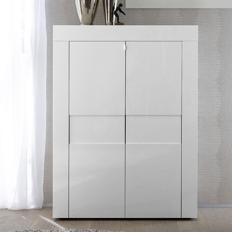 Vaisselier 2 portes laqué Blanc brillant - TRANI