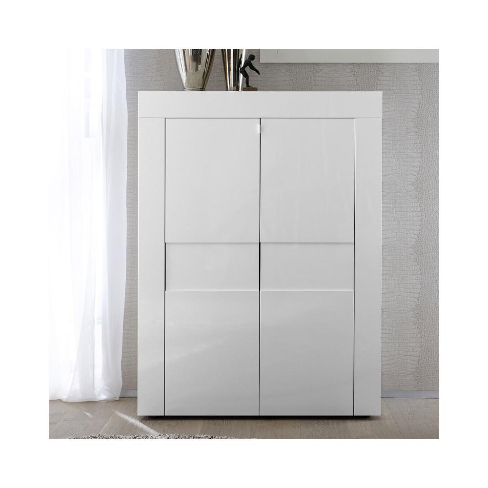 Vaisselier 2 portes laqué Blanc brillant contemporain - Univers Salle à Manger : Tousmesmeubles