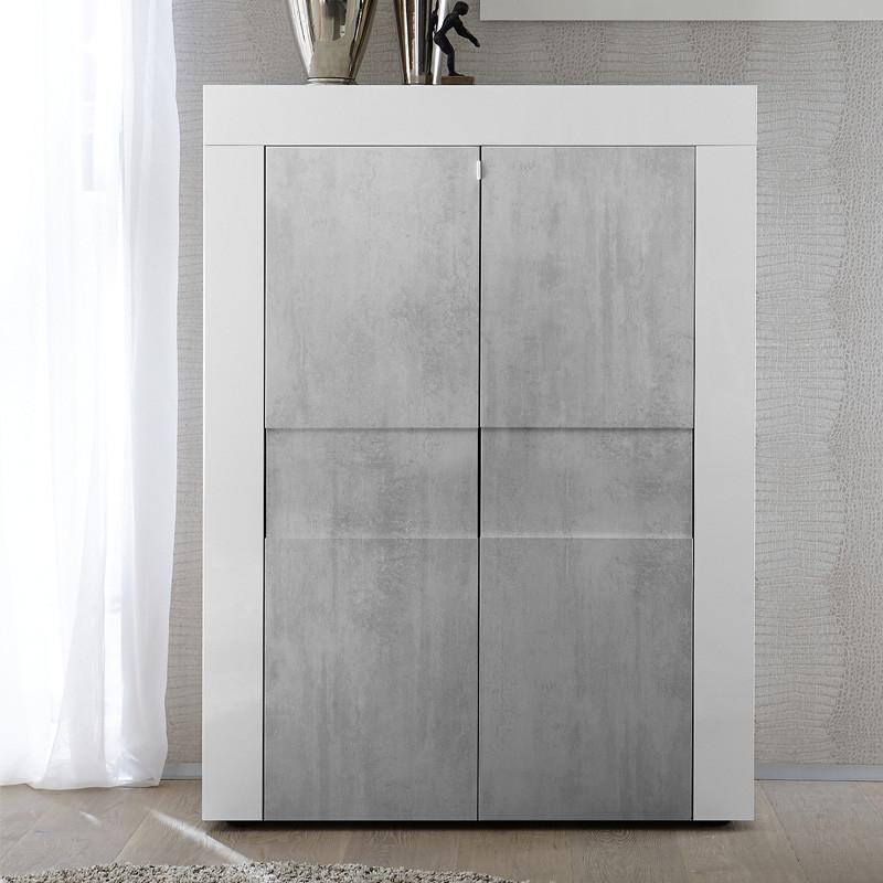 Vaisselier 2 portes Blanc brillant Béton moderne - Univers Salle à Manger : Tousmesmeubmes