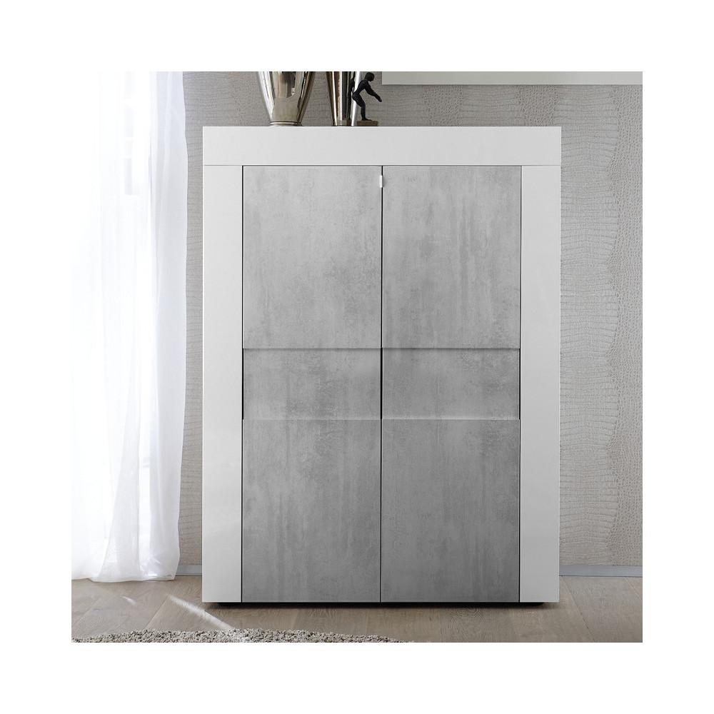 Vaisselier 2 portes Blanc/Béton - TRANI
