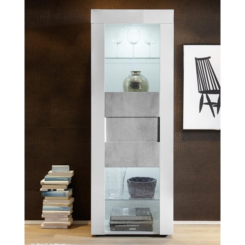 Vitrine 1 porte Blanc/Béton à LEDs contemporain - Univers Salle à Manger : Tousmesmeubles