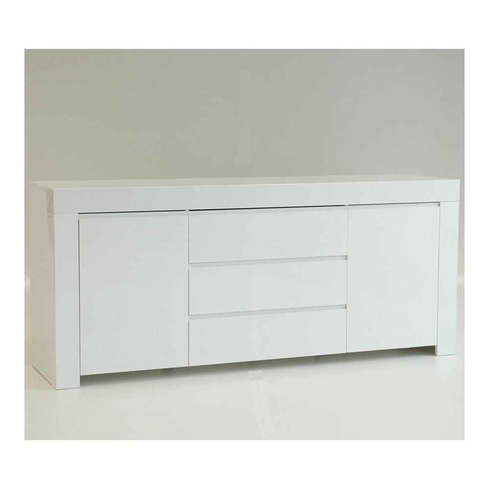 Buffet 2 portes 3 tiroirs laqué Blanc brillant moderne - Univers Salle à Manger : Tousmesmeubles