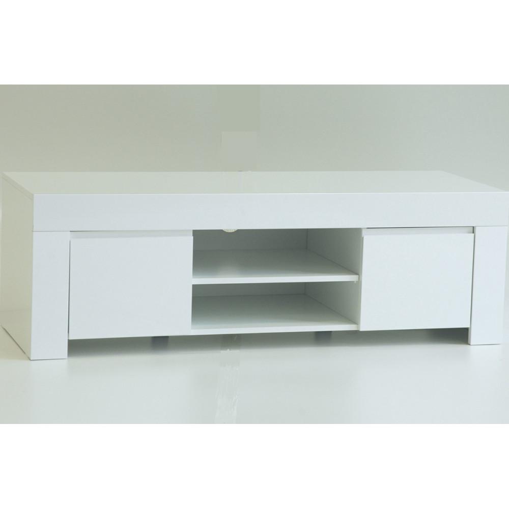 Meuble TV 2 portes 140 cm laqué Blanc brillant moderne - Univers Salon : Tousmesmeubles