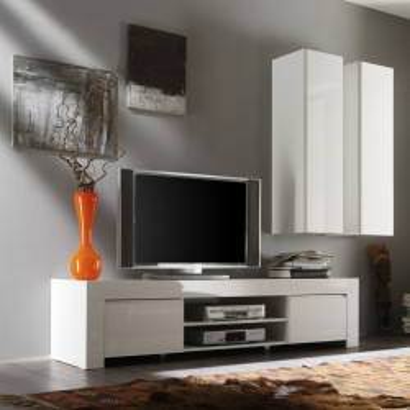 Meuble TV 2 portes 190 cm laqué Blanc brillant cotnemporain - Univers Salon : Tousmesmeubles
