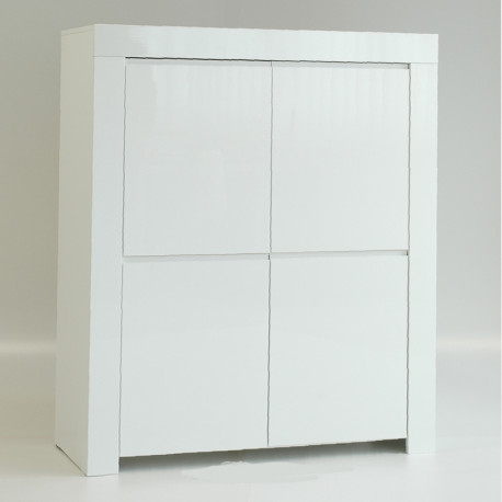 Vaisselier 4 portes laqué Blanc brillant moderne - Univers Salle à Manger : Tousmesmeubles