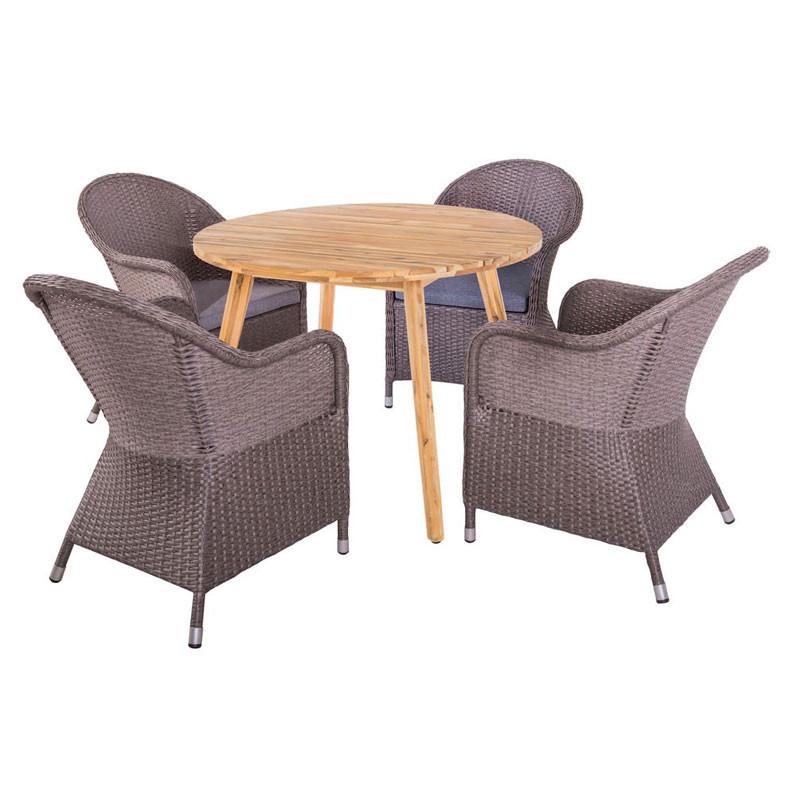 Ensemble Table ronde & Fauteuils Bois/Rotin - HURAA