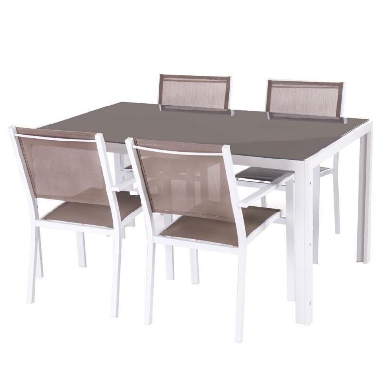 Ensemble Table & Chaises Blanc/Taupe - VADO