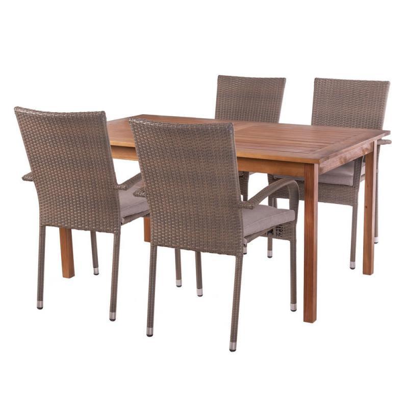 Ensemble Table rectangulaire & Chaises Bois/Rotin - OLUVELI