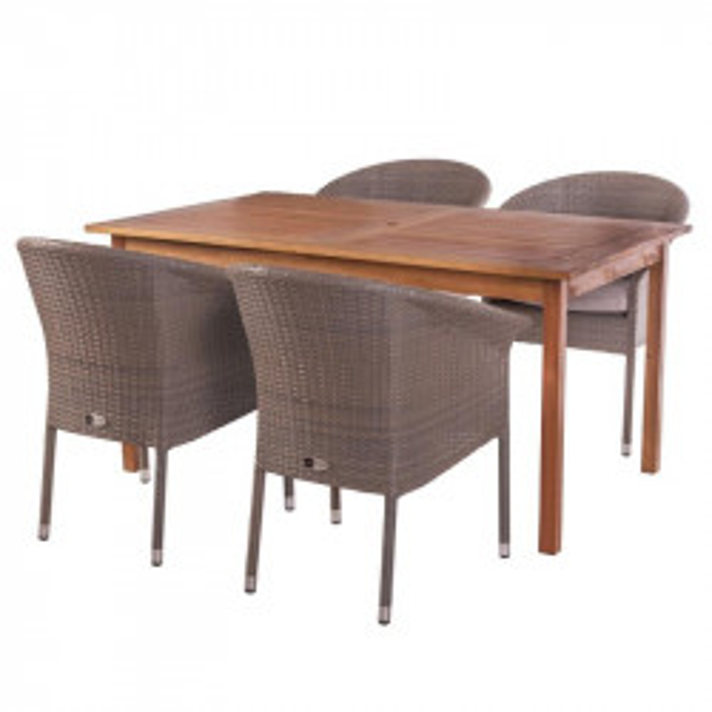 Ensemble Table rectangulaire & Fauteuils Bois/Rotin - OLUVELI