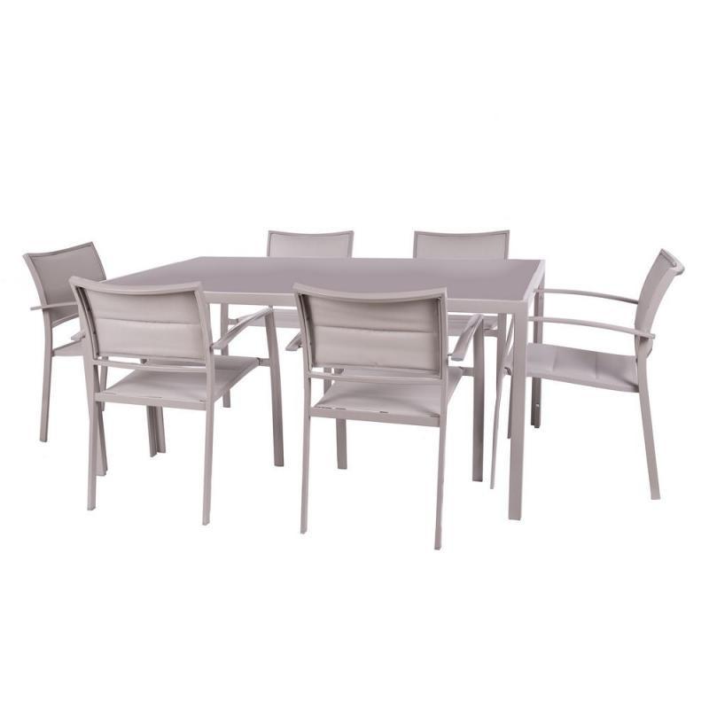 Ensemble Table carrée & Chaises Acier gris - VADO n°1
