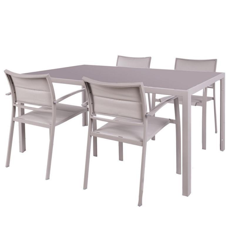Ensemble Table carrée & Chaises Acier gris - VADO n°2