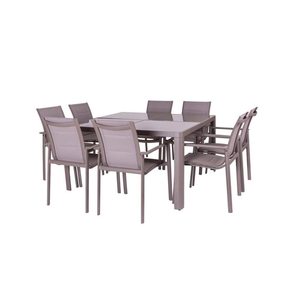 Ensemble Table carrée & Chaises Aluminium - FLORES