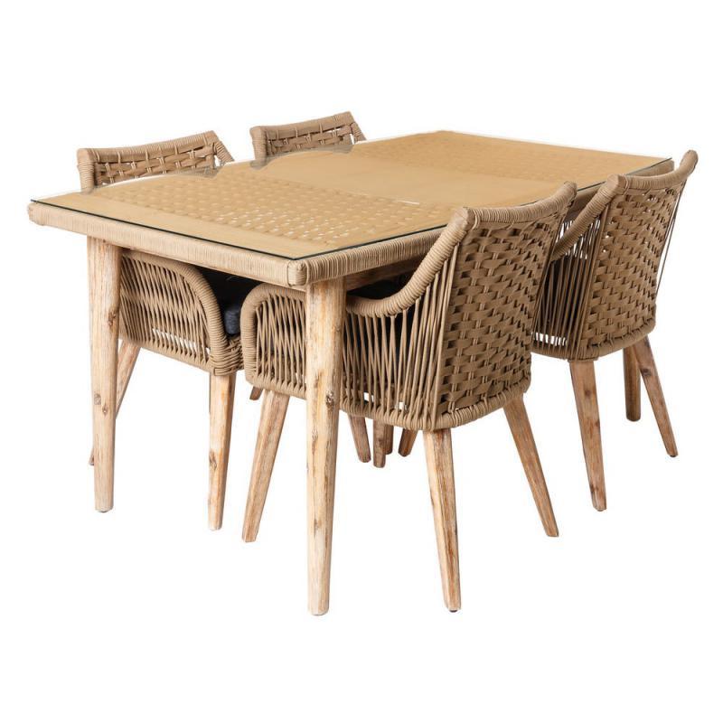 Ensemble Table & Chaises en Corde beige/Bois/Verre - BIAK