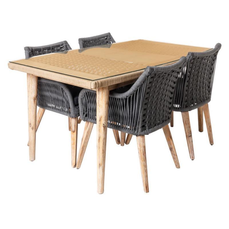 Ensemble Table & Chaises en Corde grise/Bois/Verre - BIAK