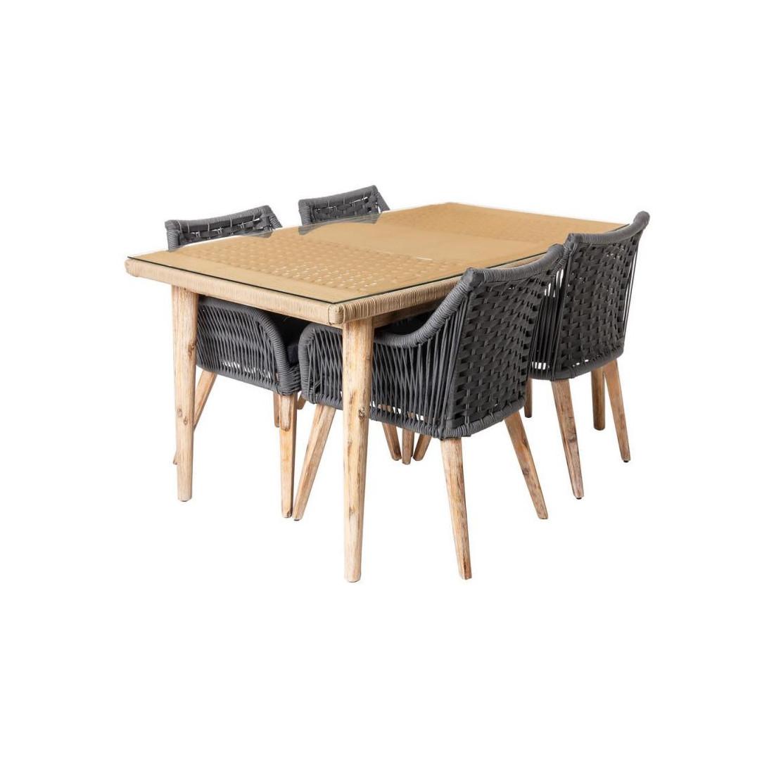 Ensemble Table & Chaises Corde grise/Bois/Verre SUMBA ...