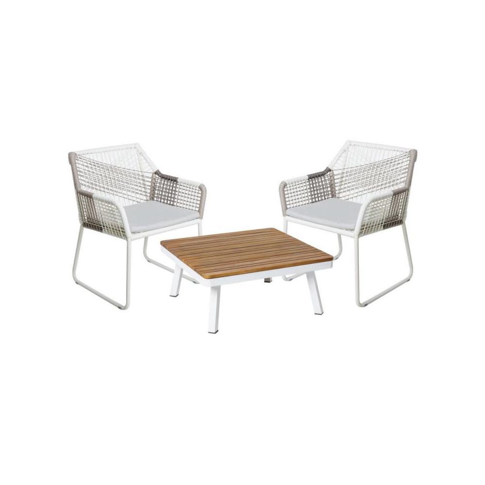 Salon complet d'extérieur Bois/Aluminium/Rotin - SOLOR