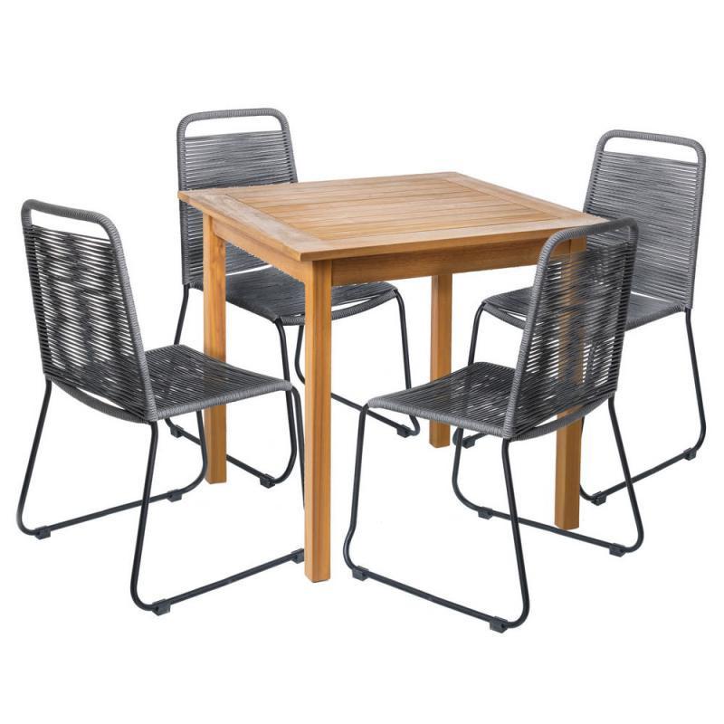 Ensemble Table carrée & Chaises Bois/Corde grise - OLUVELI
