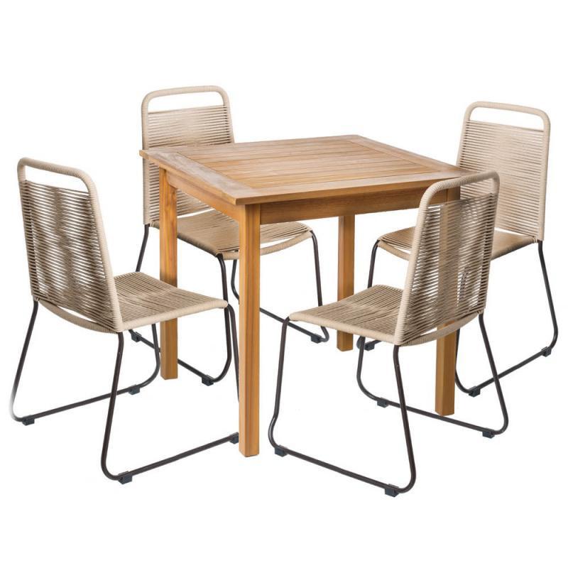 Ensemble Table carrée & Chaises Bois/Corde beige - OLUVELI