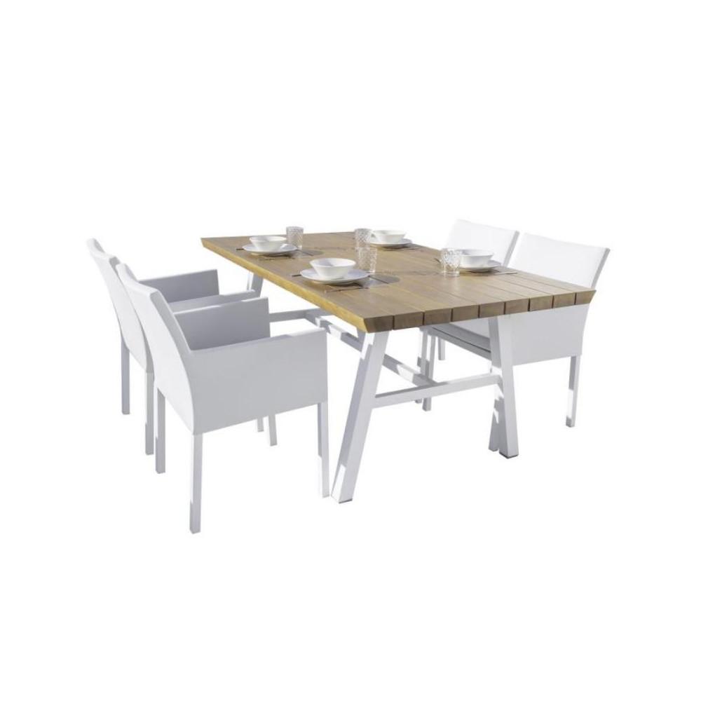 Ensemble Table & Chaises Bois/Aluminium/Tissu blanc - SOLOR