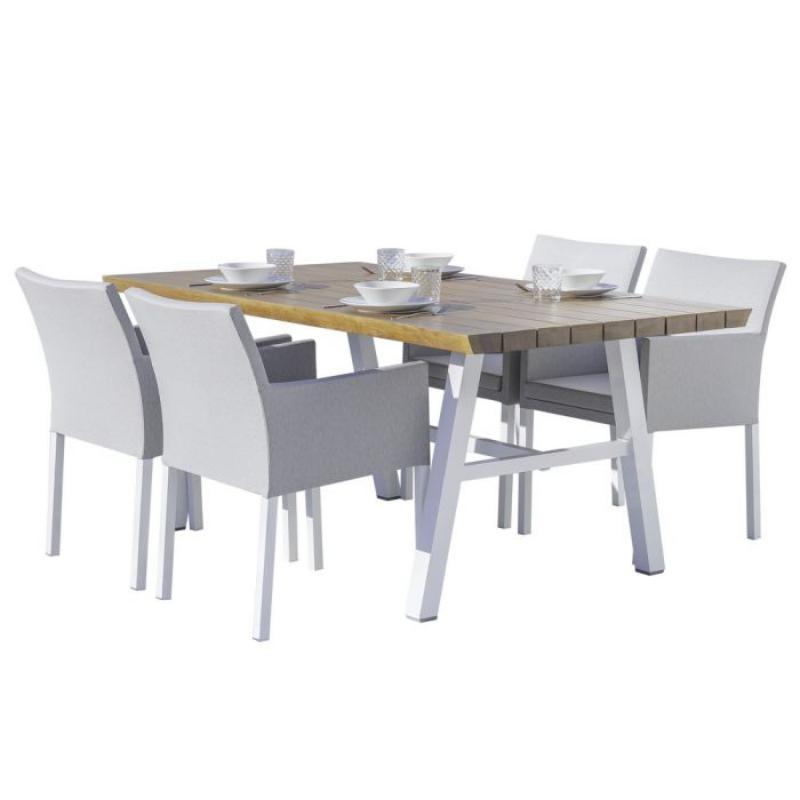 Ensemble Table & Chaises Bois/Aluminium/Tissu gris - SOLOR