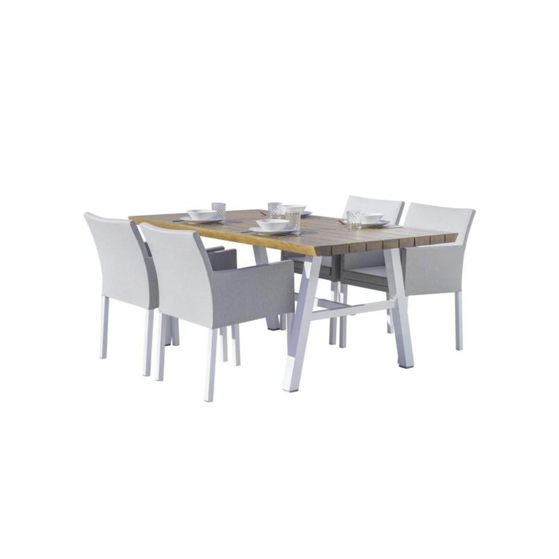 Table De Repas En Bois Aluminium Tissu Gris Solor Univers Du Jardin
