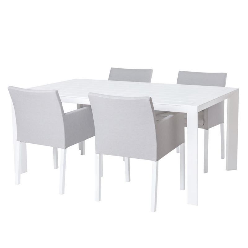 Ensemble Table & Chaises Aluminium blanc/Tissu gris - NIHOA