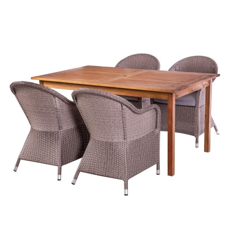 Ensemble Table rectangulaire & Fauteuils Bois/Rotin - OLUVELI n°2