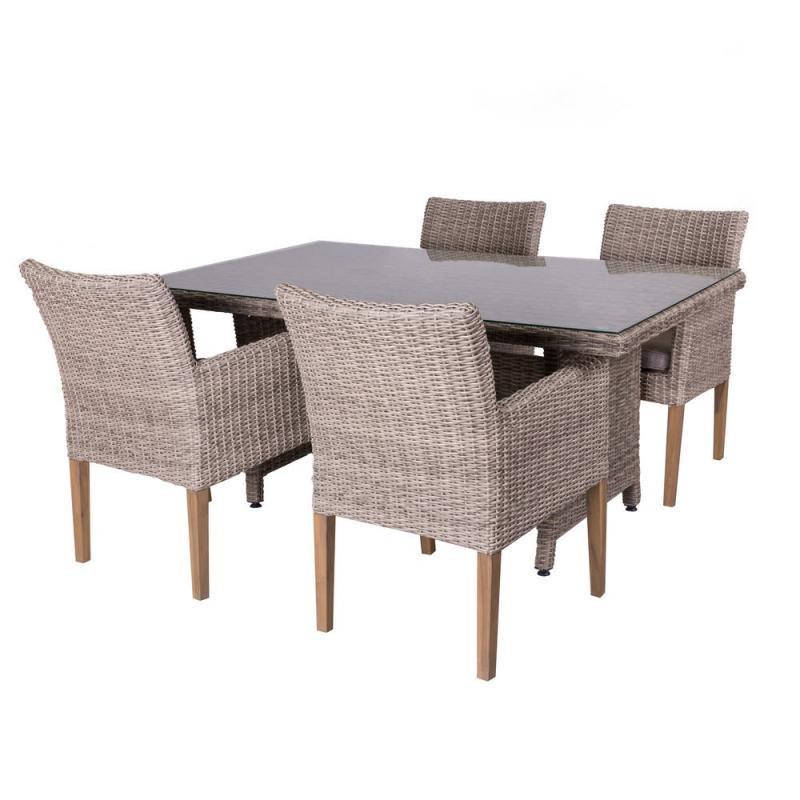 Ensemble Table & Chaises Rotin vieilli/Verre - RINCA