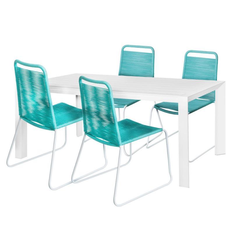Ensemble Table & Chaises Blanc/Corde turquoise - NIHOA
